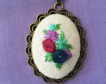 Floral hand embroidered spray cameo//Vintage inspired fashion necklace//purple,red,blue//roses//wedding gift//handmade//bronze effect