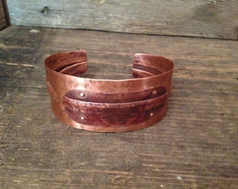 Hammered copper cuff, fold formed metal, riveted layered bracelet