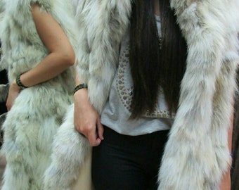 NEW! Natural,Real LONG Fox Fur Vest!!!