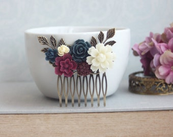 Wedding Hair Comb, Burgundy, Ivory, Maroon and Navy Blue Wedding, Maroon and Dark Blue Flower Hair Piece, Rustic Romantic, Bridesmaids Gift