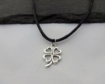 Clover Choker Necklace, Clover Choker, Charm Necklace, Black Cord, Four Leaf Clover, Clover Necklace, Charm Choker, Good Luck, Gifts, Lucky