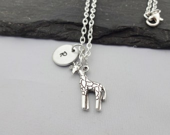 Initial Giraffe Necklace, Giraffe Necklace, Initial Animal Necklace, Charm Necklace, Giraffe Gifts, Giraffe Gift, Jewellery, Animal Gifts
