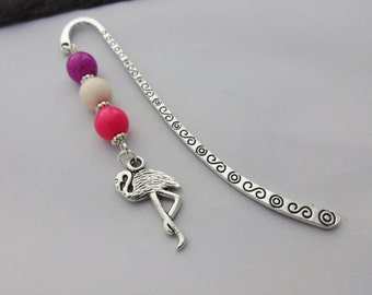 Flamingo Bookmark, Charm Bookmark, Pink Bookmark, Flamingo Gift, Animal Gift, Beaded Bookmark, Flamingo Charm, Reader Gifts,Stocking Fillers