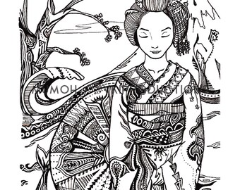 Japanese Geisha Themed Print