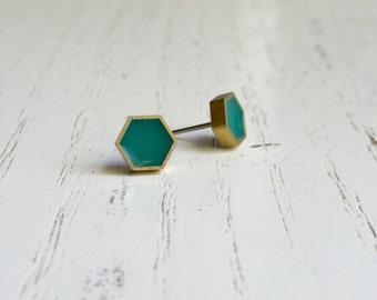 Green Hexagon Stud Earrings. Titanium Hypoallergenic Studs. (#039)