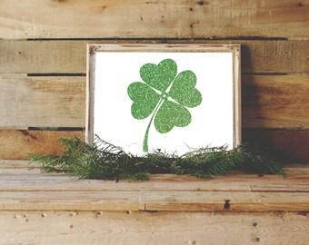 Four Leaf Clover, Print, St. Patrick's Day Decor, Shamrock Printable, Ireland, Chicago