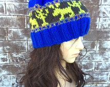 NEON HATS, Neon Green, Fun Gifts, Neon Donkey,  Gifts for Him, Neon Gifts, Royal Blue Knit Hat