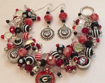 Handmade Georgia Bulldogs Charm Bracelet: Chunky Cluster Bracelet with various Black, Red and White beads