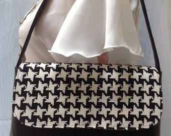 Houndstooth black and white purse/handbag/clutch/purse