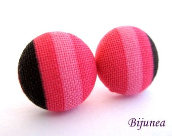 Pink Stripes earrings - Pink stripe stud earrings - Black stripes posts - Stripes studs - Pink stripes post earrings sf1176