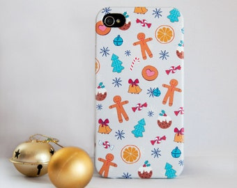 Christmas Treat. Hand Drawn Christmas Phone Case Design for Apple models, Samsung models, HTC Models, Sony models. Dessi Designs