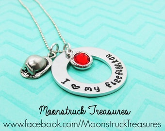 I love my firefighter,Customized Hand stamped jewelry, Firefighter Wife Necklace, I love my fireman,Firefighter Mom,Firefighter Girlfriend