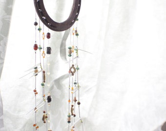 horseshoe WIND CHIME, horse shoe, gift for her him, handmade, housewarming, christmas, gift, home decor, garden decor, wind chimes, indoor
