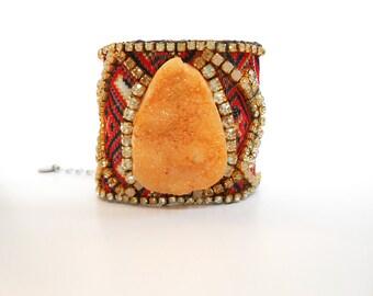 Orange Agate Bracelet, Druzy Agate Bracelet, Leather Cuff Bracelet, Tribal Jewelry, Fabric Cuff Bracelet, Orange and Turquoise, Boho Chic