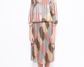 Vintage Polyester Midi Dress in Canary / Pink / Caramel Featuring Houndstooth Print Boat Neck with Sailor Style Neckline