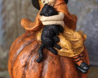 "Cute Vintage Victorian Halloween Figurine - Girl With Cat On Pumpkin - 6"" x 8"""