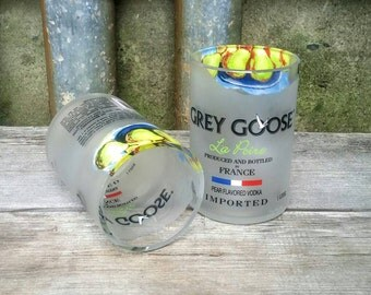Pear Vodka Drinking Glass - Set of Two Recycled Grey Goose Liquor Bottle Glasses