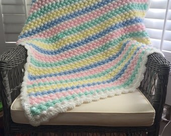 Crochet Baby Bubble Afghan | Striped Pastel Bobble Baby Blanket | Crochet Crib Blanket | Crochet Baby Shower Gift