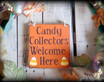 Halloween Sign - Trick or Treat Sign - Halloween Decor - Front Door Sign - Porch Decor - Fall Sign - Happy Halloween - Orange and Black Sign