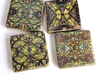 Pattern tile beads, 4 Square rustic beads, Flat beads, Abstract pattern, Purple green yellow Art Nouveau style Bead embroidery Focal beads,