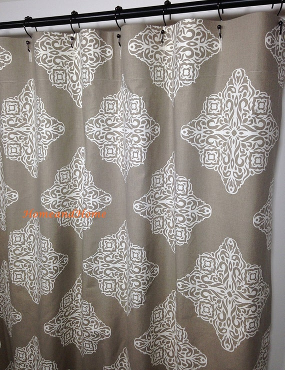 custom fabric shower curtain damask taupe ivory 72 x 84 108 54. Black Bedroom Furniture Sets. Home Design Ideas