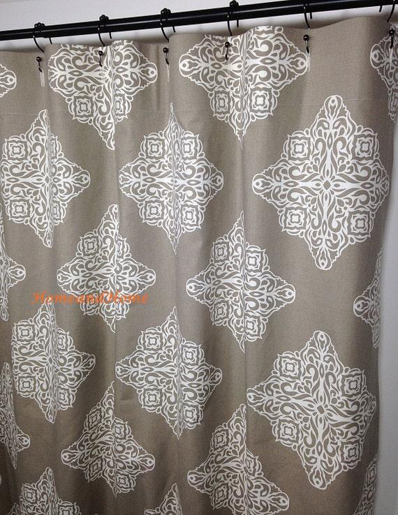 Custom Fabric Shower Curtain Damask Taupe Ivory 72 X 84 108 54