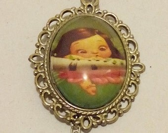 Flower Blossom Fairy Girl Photo Cabochon Pendant