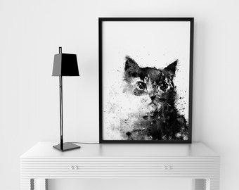 Cat Print, Printable Cat Art, Instant Download, Black Cat, Printable Art, Black Home Decor, Black And White Art, Animal Art, Splatter Ink