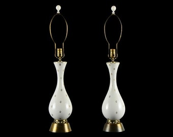 Superb Pair of Mid Century Modern White and Gold Ceramic Table Lamps!