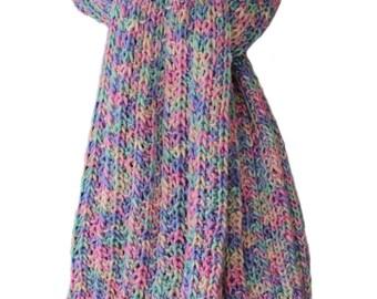 Hand Knit Scarf  - Pastel Morning Reflections Silky Merino