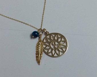 Birthday gifts dreamcatcher necklace 10k, Single monogram initial, Genuine birthstone necklace