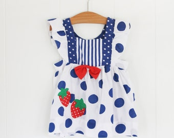 Girls Vintage Dress // 12-18 Month Baby Strawberry Pinafore