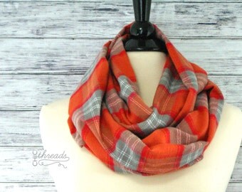 Infinity Scarf- Valentines Gift for Her- Plaid Infinity Scarf- Circle Scarf- Winter Infinity Scarf-  Women's Scarf- Christmas Scarf- Scarf