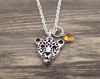 Leopard Necklace with Topaz Birthstone, Leopard Jewelry, Birthday Gift, Leopard Charm, Panther, Tiger, Jaguar Necklace, Animal Lover Gift