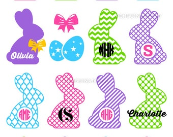 Easter Bunny Circle Monogram Frames - Rabbit SVG Cut Files for Electronic Vinyl Cutter - Cricut, Silhouette - svg, eps, dxf, png, studio3