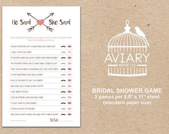 PRINTED Bridal Shower Game - Bride or Groom / He Said She Said Game