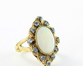 Opal and amethyst ring in 9 carat gold handmade unique alternative ring for her UK