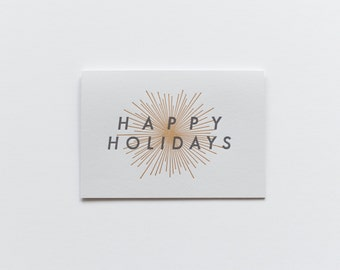 Happy Holidays Letterpress Notecards, Box of 6
