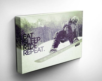 Snowboarding Canvas Art, Snowboarder, Boarding Jump Inspirational Quote & Motivational Canvas Art Print, Gift Idea, FREE SHIPPING