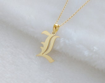 Gold Old English Necklace,Old English Letter Necklace, Single Initial Old English Pendant Necklace,Old English Font Charm Necklace