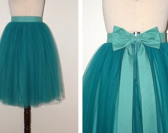 TEAL tulle knee length prom skirt, bridal, bridesmaid, christmas party, New Years