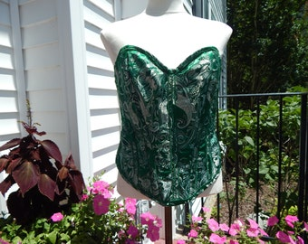 Full Corset- Green and Silver