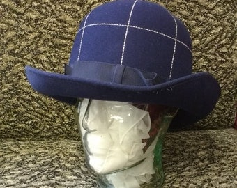 Vintage Dark Blue Women's felt Hat with Ribbon and White running stitch Detail