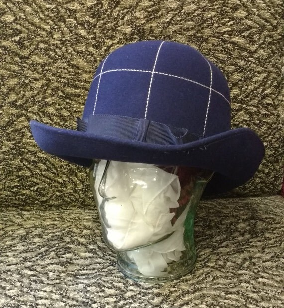 Vintage Dark Blue Women's felt Hat with Ribbon and White running stitch Detail