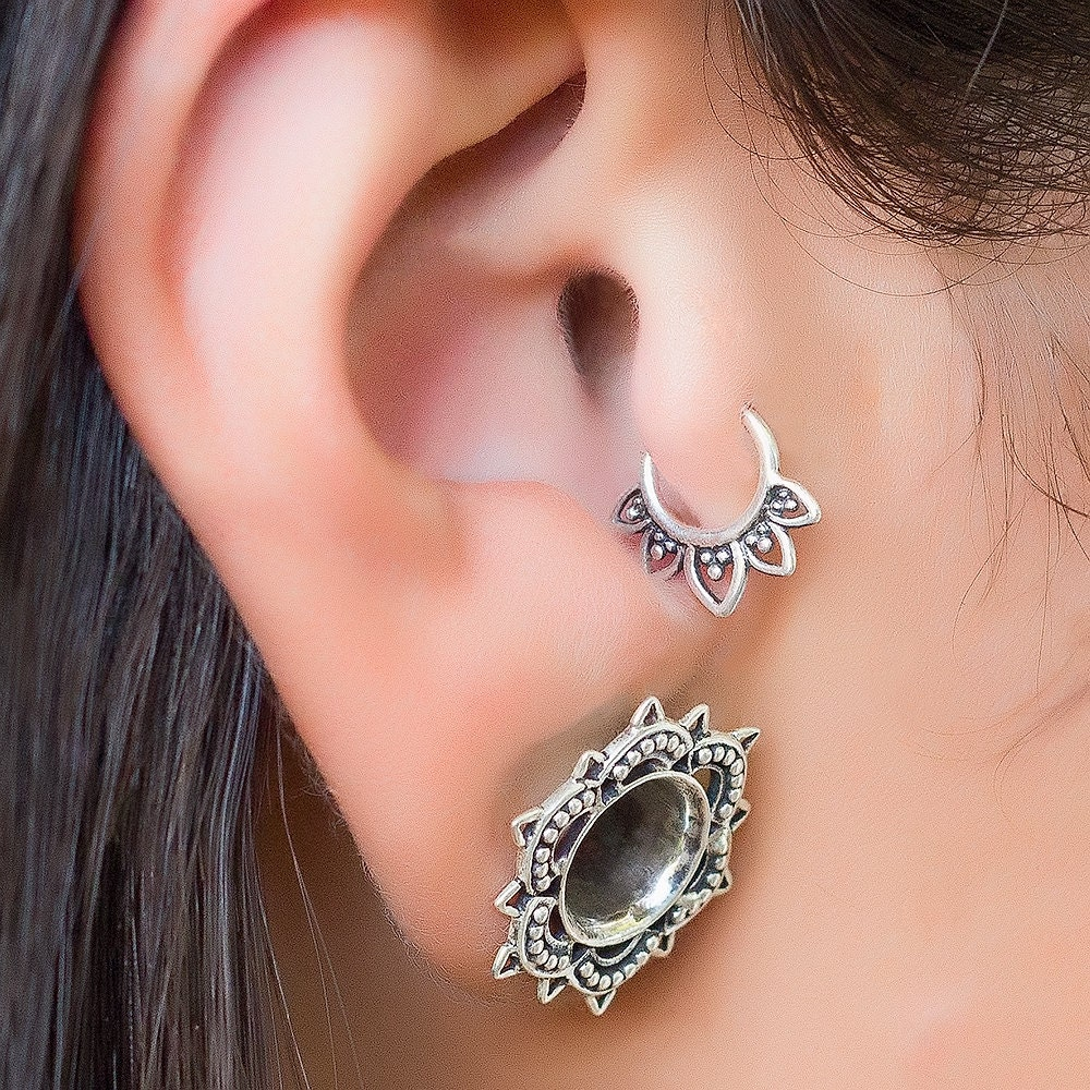 sterling silver tragus earring helix earring tiny earring. Black Bedroom Furniture Sets. Home Design Ideas