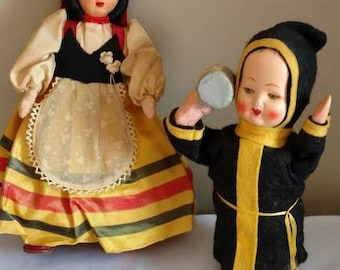 Two Vintage Dolls, Belgium Cloth Doll & Celluloid German Drinking Monk