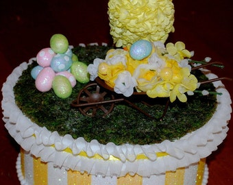 Easter Decoration/Centerpiece, GIFT BOX, Baby Chick Decorated Box, Keepsake Box, Chick With Wheelbarrow of Flowers, Easter Gift,