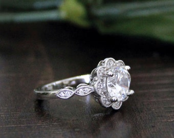 2.14 ct.tw Art Deco Flower Ring-Halo Engagement Ring-Brilliant Cut Diamond Simulants-Bridal Ring-Wedding Ring-Solid Sterling Silver [3952]