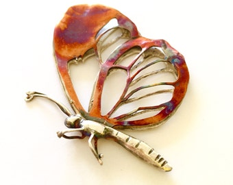 Large Butterfly pendant - Glass winged Butterfly