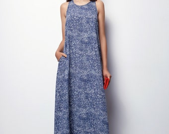 EASTER GIFTS, Loose Maxi Dress, Loose Dress, Blue Maxi Dress, Casual Dresses for Women, Summer Maxi Dress, Long Summer Dress, blue dress